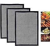 ZILONG Tappetino per Grigliata Antiaderente, Griglie Riutilizzabile e Tagliabile per Cottura in Forno Barbecue - Approvato dalla FDA, LFGB e SGS - 3pc (40 * 33 cm)