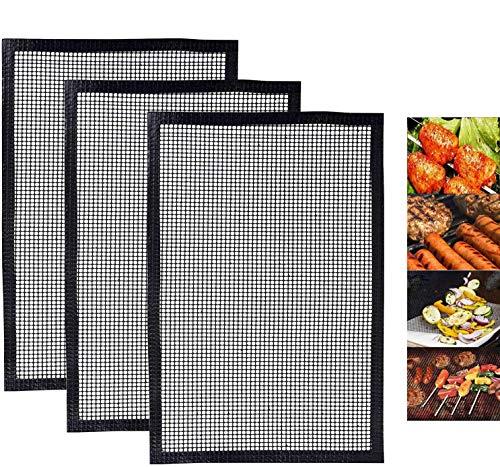 ZILONG Teflon Grillmatte, Backmatten Gebacken Antihaftend, Grill und Backmatte - Genehmigt von der FDA, LFGB und SGS - ideal zum Brötchenaufbacken, 3 Stücks (40 x 33 cm)