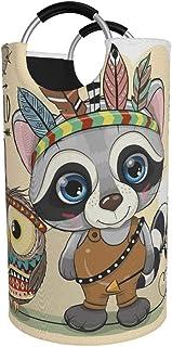 Grand panier à linge, raton laveur tribal mignon de bande dessinée et hibou avec sac à vêtements plumes, panier pliable en...