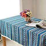 Smilikee Rechteckige Tischdecke aus Baumwolle und Leinen mit Flecken- und Feuchtigkeitsbeständigkeit Tischdecken im Böhmischen Stil Abwaschbare Tischdecken für Picknicktische (Blau)