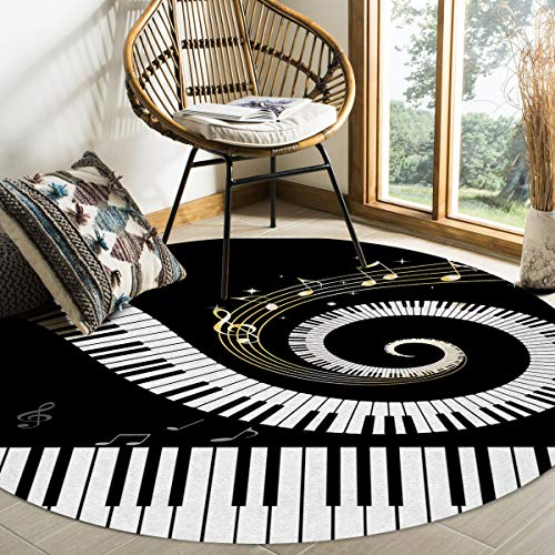 Plush Round Throw Rug Cozy Rug Floor Mat, Piano Keys Black and White Musical Notes Area Rugs Home Office Decorator, Super Soft Stain-Proof Carpets Kids Play Rug, 4 Feet