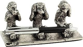 Bey-Berk R21C Antique Silver Plated See, Hear & Speak No Evil Monkey Pen Holder, 6 x 2.5 x 3, Grey
