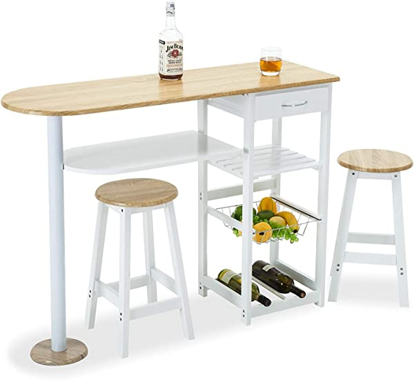 Mecor Kitchen Island Trolley Cart 3 Piece Dining Table Set With Wood Table Top 3 Tier Storage Shelves 1 Drawer White