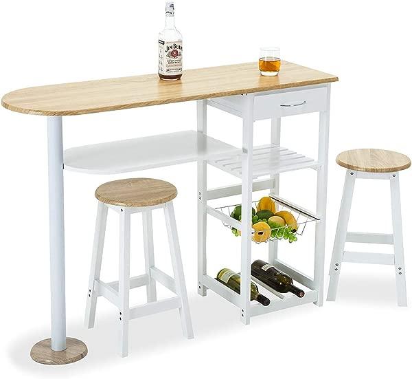 Mecor 厨房岛屿手推车 3 件套餐桌套装带木桌顶部 3 层储物架 1 抽屉白色