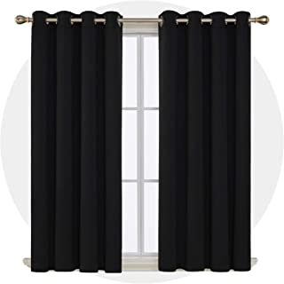 Deconovo Solid Grommet Top Curtains Blackout Curtains Thermal Insulated Light Blocking Curtains for Bedroom Black 52W x 63L Inch 1 Pair