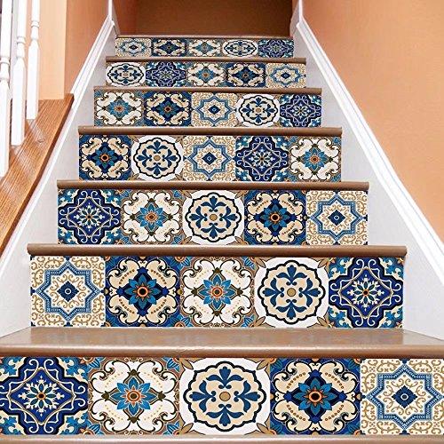 Frolahouse - 6 pegatinas adhesivas 3D para escaleras de estilo mediterráneo europeo removibles e impermeables para pared – Calcomanía elevadora de escaleras para sala de estar, pasillo, baño decoración