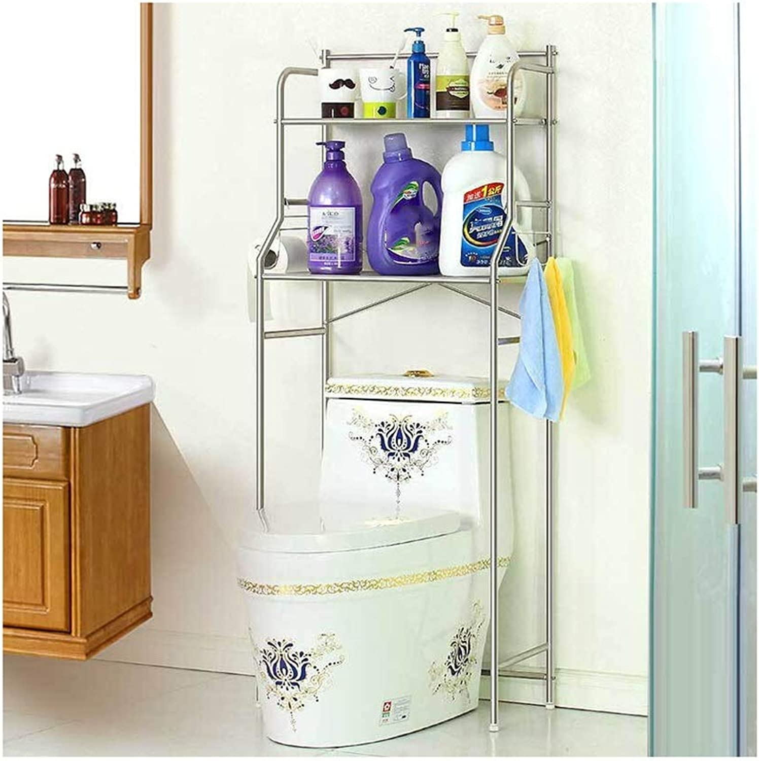 Kitchen Storage Rack Toilet Rack Bathroom Space Saver Multi-Layer Stainless Steel Storage Shelf Organisation (Size   H-140cm)
