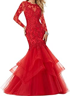 Bonnie_Shop Women's Beaded Lace Embroide Prom Dress Long Mermaid Formal Prom Party Ball Gown