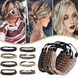 Hairro Synthetic Braided Hair Headbands Classic Five-strand Braid Plaited Hairpiece Elastic Stretch Fake Braid Hair Band for Women and Girls Fashionable Beauty Hair Highlight 4A/27 Blonde