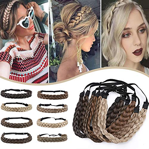 Hairro Synthetic Braided Hair Headbands Classic Five-strand Braid Plaited Hairpiece Elastic Stretch Fake Braid Hair Band for Women and Girls Fashionable Beauty Hair Accessory 4A Brown