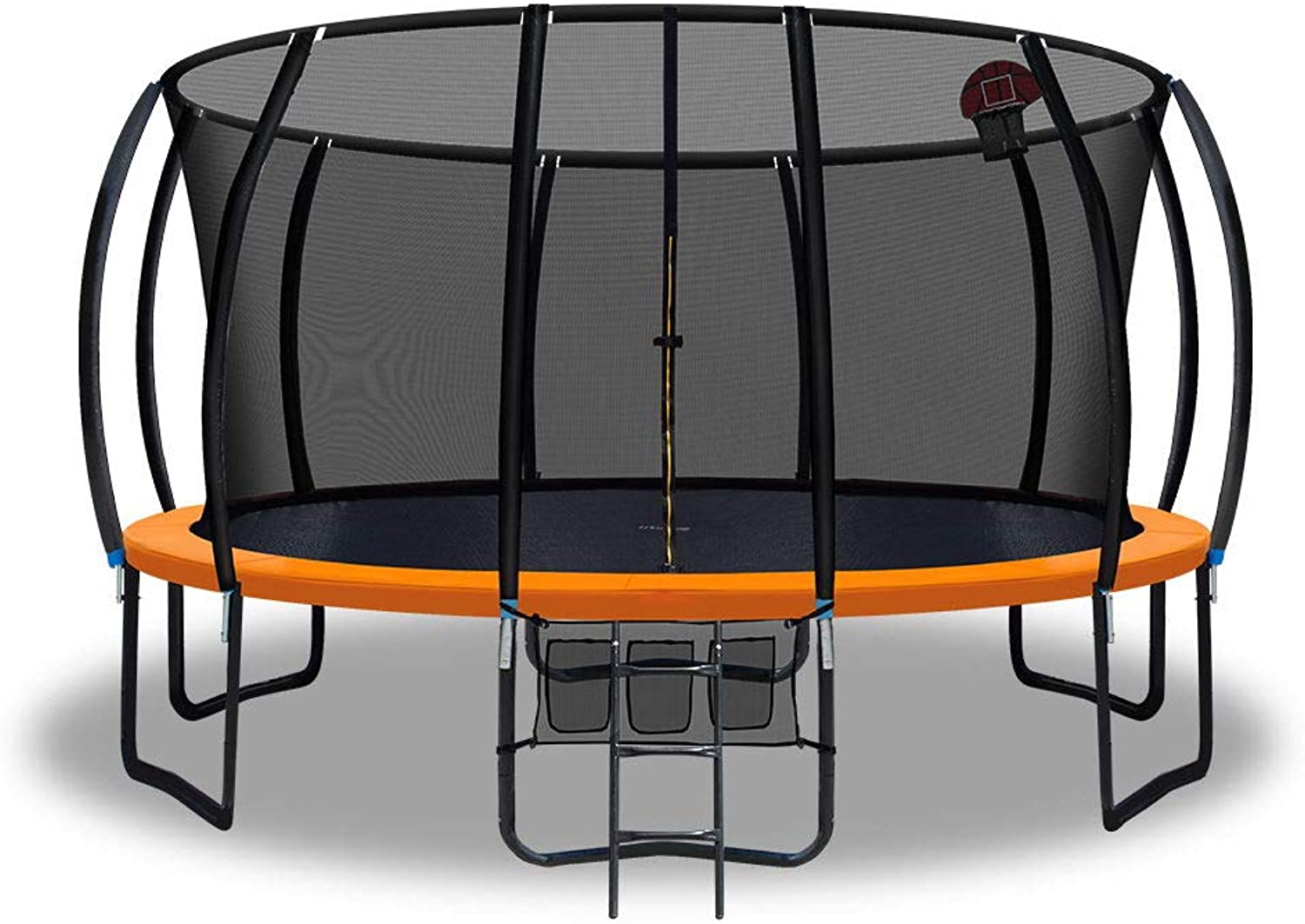 Trampoline 16Feet with Safety Enclosure and Basketball Set orange – Everfit