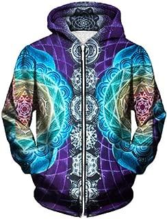 Psychedelic Zip Up Hoodies Rainbow M ala Chakra Art Sublimation Print Hoody
