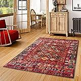 Pergamon Vintage Zoe - Alfombra de diseño - Oriente Moderno Borde Rojo - 5 Tamaños