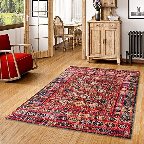 Pergamon Designer Teppich Vintage Zoe Orient Modern Rot Bordüre in 5 Größen