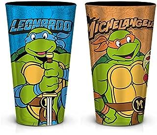 2-Pack Teenage Mutant Ninja Turtles (TMNT) OFFICIAL Leonardo & Michelangelo PREMIUM Foil-Printed Pint Glass SET, 16oz Blue/Orange