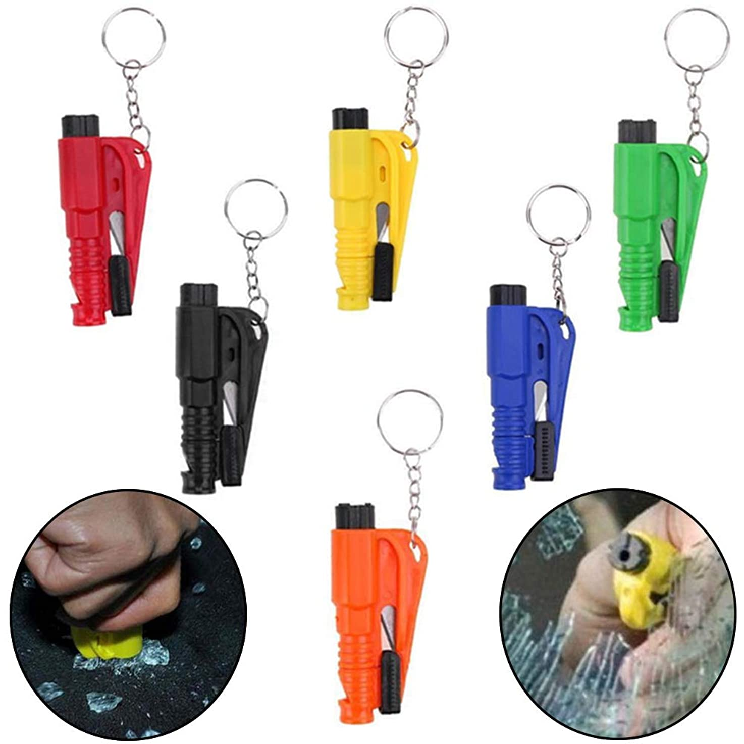 3 in 1 Car Emergency Escape Rescue Tool,Safety Hammer Belt Cutter Glass Window Breaker with Keychain Whistle Seat Belt Cutter (Red)