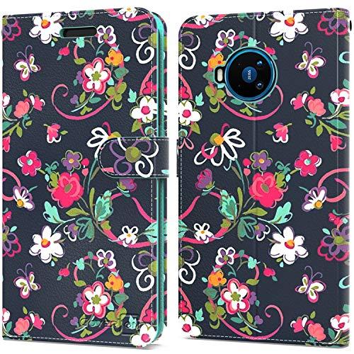 CoverON Schutzhülle für Nokia 8 V 5G UW/Nokia 8.3 5G, Leder, RFID-blockierend, Klapphülle mit Standfunktion, Blumen-Design