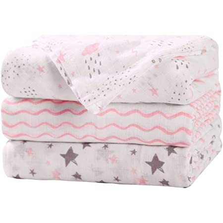 Baby Muslin Blankets - 3 Pack Muslin Swaddle Blankets for Girls - Soft & Breathable - Cotton Muslin Swaddle Blankets for Baby Girl - Large Size 47x47in Receiving Blankets for Newborn, Pink/Grey
