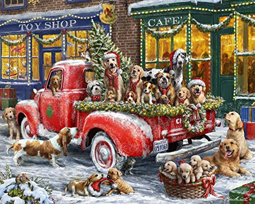Bdgjln Puzzle 1000 Piezas-Perro de navidad-JuegosJuguetesNiñosNavidadPuzzleRompecabezasRegalosHombreMujerPuzzlesparaAdultos-50x75cm