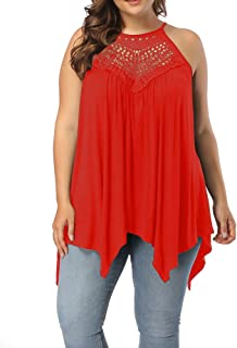 Women's Plus Size Lace Front Spaghetti Strap Tunic Tops Sleeveless Pleated Long T Shirts