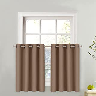 NICETOWN Short Curtain Valance for Nursery - Thermal Insulated Light Reducing Drape for Half Window (1 Piece, 52W by 24L + 1.2 inches Header, Cappuccino)