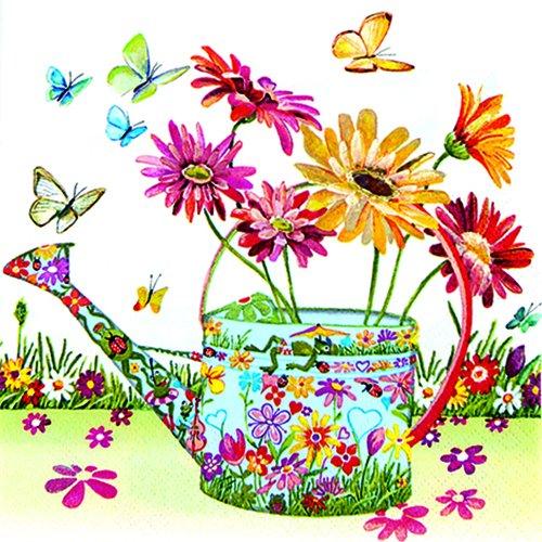 20 servetten Flowery Can, gieter met bloemenpatroon, bloemen, tuin, 33 x 33 cm