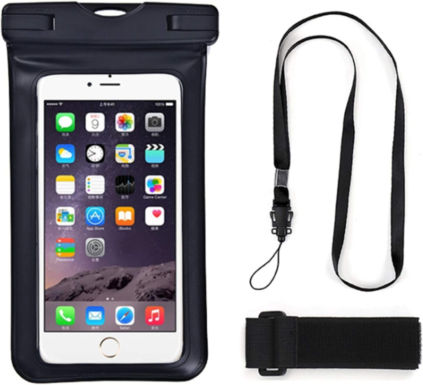 Universal Waterproof Underwater Cell Phone Dry Bag Pouch Case with Lanyard Armband for iPhone 12, 12 Pro, 12 Pro Max, for Galaxy F22, M32, A22, F52 5G, M42 5G, M12, Quantum 2, F12, F02s, A72, Black