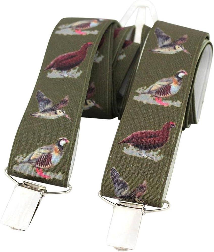 David Van Hagen Mens Country Birds Braces - Green