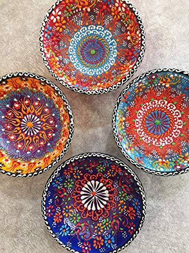 IstanbulArtWorkshop 4x Decorative Ceramic Bowl Set,Handmade Turkish Ceramic,Small Ceramic Serving Bowl Set,Salad Bowl Set,Tapas Bowls,Snack Bowl Set,Salad Bowl 10 Cm 3.9