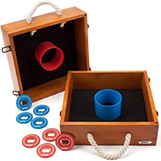 GSE Games & Sports Expert Premium Quality Outdoor Solid Wood Washer Toss Game Set (Oak)