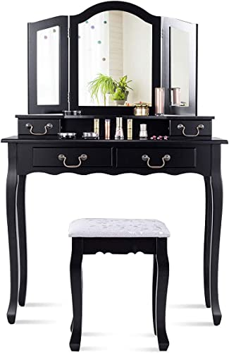 lowest CHARMAID online Tri-Folding Mirror Vanity Set with Cushioned Stool and 4 Drawers, Makeup Dressing Table with Cushioned Stool for Women Girls Bedroom, outlet sale Bedroom Bathroom Vanity Table and Stool Set (Black) online sale