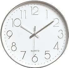 Tosnail 12 Inches Round Silent Non Ticking Quartz Wall Clock - Elegant Silver Frame