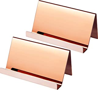 Maxdot 2 Pack Stainless Steel Business Cards Holders Desktop Card Display Business Card Rack Organizer (Rose Gold)