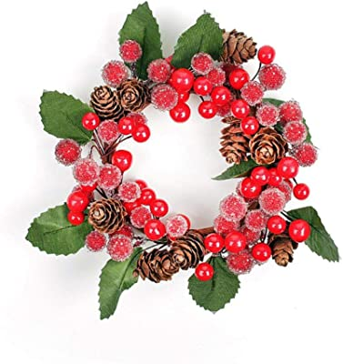 A1-Homes 8 x Artificial Red Mini Dark Red Apple Cluster Christmas Pick Wreaths Garlands Floristry Suitable for outdoors 3.5 length