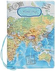 SYMALL Funda de Pasaporte con Estampado Mapa Internacional Encaje Funda Cartera para Pasaporte y Billetes de Avión Sostenedor Cubierta Porta para Pasaporte Protector, Azul