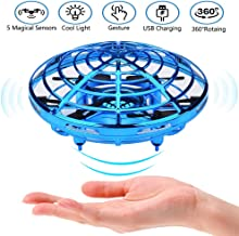 $28 » Hand Operated Drone for Kids Adults Mini Drones with 5 Magical Sensors and LED Lights Hand Free Kids Drone for Boys and Girls Self Flying Drone (Blue)