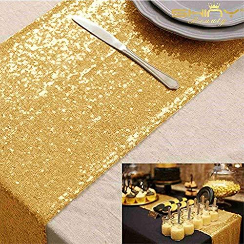 ShinyBeauty Pailletten Tabelle läufer Gold 12x72in Pailletten Tischläufer-30x180cm-Gold Hochzeitstag geburtstagsessen bankett tischdecke