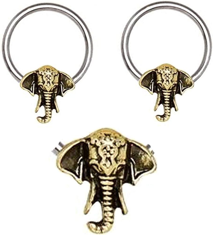 playful piercings Pair of Antique Bronze Plated Elephant Head Captive Bead Ring Lip, Belly, Nipple, Septum, Earring Hoop 16g