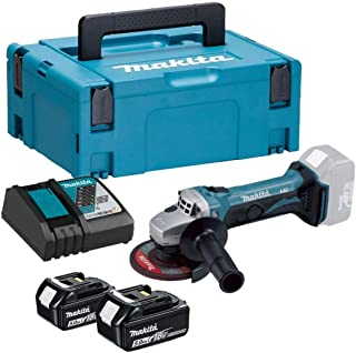 Makita DGA452RTJ 18V Li-ion LXT 115mm Angle Grinder Complete with 2 x 5.0 Ah Batteries and Charger Supplied in a Makpac Case