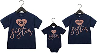 3 Sister Shirts Big Middle Little Sister Glitter Set of 3 Matching Sister Shirts