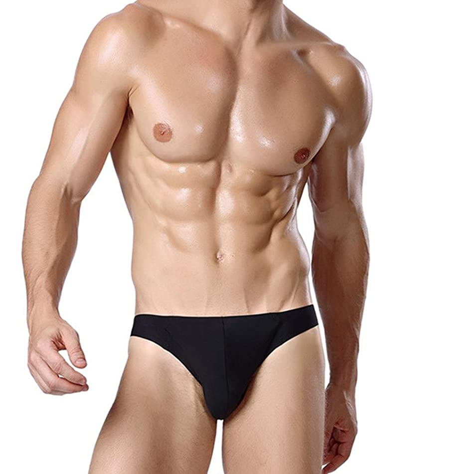 Aribelly Mens Brief Underwear Cotton Print Shorts Boxers Underpants (L, Black)