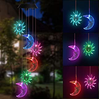 DOUBLEZHE Sun Moon Solar Wind Chime Light Solar Powered Waterproof LED Wind Chime Color Changing with USB for Outdoor Pati...