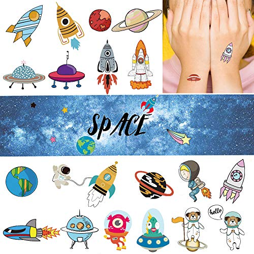 Ooopsi Space Temporary Tattoos for Kids - More Than 140 Tattoos (Pack of 16 Sheets) - Waterproof Universe Outer Space Tattoos Sticker for Children Boys Birthday Party Favors
