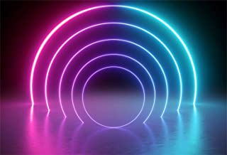 Leowefowa 7x5ft Let's Glow Neon Party Backdrop Vinyl Colorful Arch Neon Lights Futuristic Style Decades Party Chic Photography Background The 80 90's Disco Party Banner Studio Props