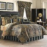 Five Queens Court Palmer Damask Luxury 4 Piece Comforter Set, Queen, Teal Navy Gold