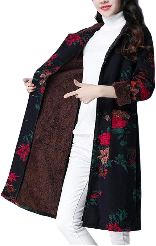 Winme Women's African Style Overcoat Plus Velvet Winter Quilted Jacket