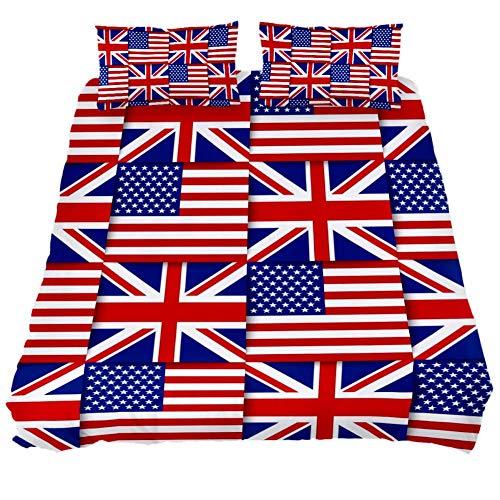 Juego de Funda de edredón Suave de 3 Piezas con la Bandera de Estados Unidos y la Bandera de Inglaterra, 59 x 79 Pulgadas, para Hombres y Mujeres, Extra Long Twin 71 x 83 \ 19 x 29 in