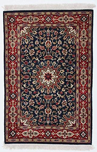 Nain Trading Indo Keshan Royal 122x82 Orientteppich Teppich Dunkelgrau/Dunkelblau Handgeknüpft Indien