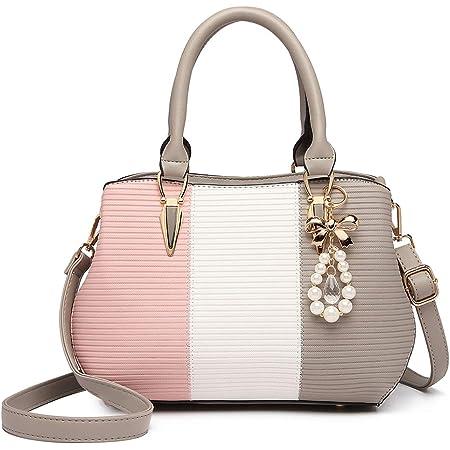 Miss Lulu Handtasche Multicolor Schultertasche Damen Shopper Elegant LG6866 Tote Henkeltasche Top-Griff Citytasche (Grau)