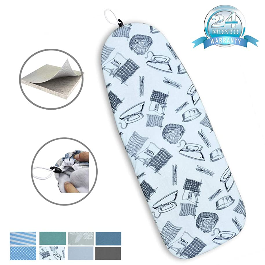 DOWE 18 x 50in Heat Resistance Metallic Ironing Board Cover Durable Felt Material Standard Size Multi-Color Choices,with Elastic Cord, Easily Handle and Fits Board Beautifully (Iron Pattern)